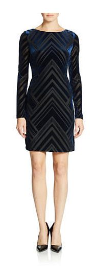 Vince Camuto Velvet Chevron Dress - on #sale 50% off @ #Lord&Taylor  #VinceCamuto
