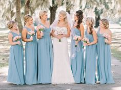 There's something about this simple chapel wedding that makes my heart really happy. Like smiling ear-to-ear and can't stop happy. It's a little reminder that the very best days aren't overdone with d. Bridesmade Dresses, Bridesmaid Dresses Plus Size, Bridesmaid Dress Colors, Blue Bridesmaids, Blue Wedding, Wedding Colors, Wedding Gowns, Dream Wedding, Georgia Wedding