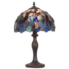 Tiffany-style Turtle Back Bronze Table Lamp