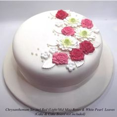 Just launched on my Etsy shop is this cake decorating collection of white chrysanthemums and roses complete with rose leaves, blossoms and pearls. There are four rose shade options including mixed pink and red. I will be doing purple shades soon. Enjoy!