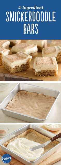 Snickerdoodle Bars: These snickerdoodle bars made with sugar cookie dough will become a favorite for any time of the year. (Two Ingredients Dough) Köstliche Desserts, Holiday Baking, Christmas Desserts, Christmas Baking, Delicious Desserts, Dessert Recipes, Yummy Food, Christmas Time, Hawaiian Desserts