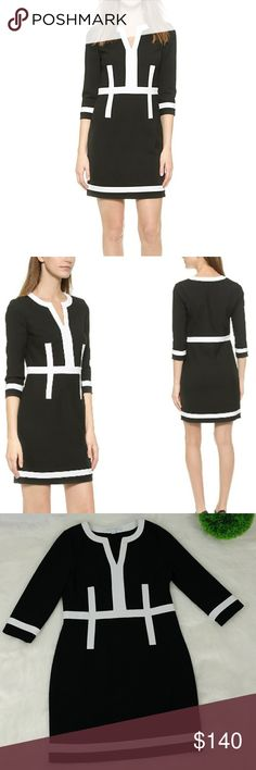 "Diane von Furstenberg Petra dress This DVF dress blends classic style with bold personality, cut in a clean shift profile and trimmed with wide, contrast accents. Split-V neckline. 3/4 sleeves. Unlined. Side zipper Fabric: Mid-weight weave. 63% polyester/27% viscose/7% cotton/3% elastane. Measuments taken laying flat across: Armpit to armpit 18"" Waist 16.5"" Hips 20"" Length 24.5"" In excellent condition. Only for a light stain inside by the tag.( Pictured)Hardly noticable. Diane Von…"