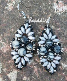 Beaddict: fekete selyemkő fülbevaló és karkötő / Black Silk Stone Earrings and Pendant