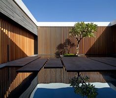 Internal Courtyard, Water Feature, Float House in Tel Aviv, Israel Outdoor Spaces, Outdoor Living, Architecture Résidentielle, Barcelona Architecture, Sustainable Architecture, Pitsou Kedem, Internal Courtyard, Modern Courtyard, Courtyard Design