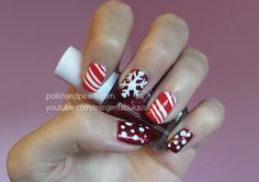 Peppermint Snowflake Nails | Polish and Pearls
