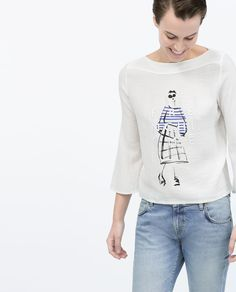 Image 1 of DOLL AND TEXT T-SHIRT from Zara