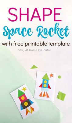 Space Rocket Ship Craft that Teaches Shapes and Geometry | preschool math activities | shape activities for preschoolers | space preschool theme #preschoolactivities #learning