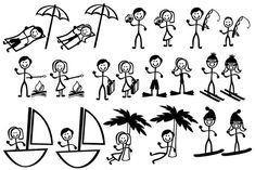 Stick Figure People Family Vacation Themed  by MyCuttingBuddy