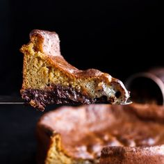 Incredibly EASY + Gooey Collapsing Chocolate Bourbon Pecan Pie Custard Cake- like magic cake but better! The middle layer is so gooey!