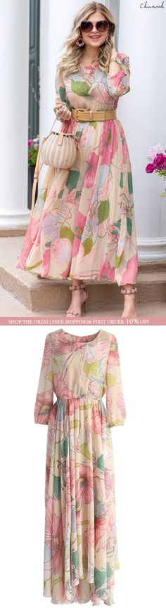 Dress Floral Maxi Beautiful Ideas For 2019 Spring Fashion Outfits, Modest Fashion, Hijab Fashion, Fashion Dresses, Floral Fashion, Fashion Clothes, Stylish Dresses, Casual Dresses, Maxi Dresses