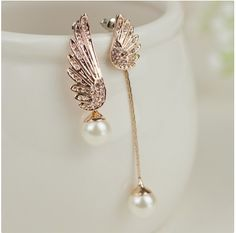 Unique Exquisite Crystal Wings With White Pearls Alloy Plated Women's Drop Earrings
