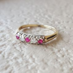 Signed Antique Vintage Art Deco Ruby Diamond Engagement Wedding Band or Anniversary Ring in 14k gold