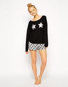 Enlarge ASOS Glitter Star Long Slv & Short Pyjama Set