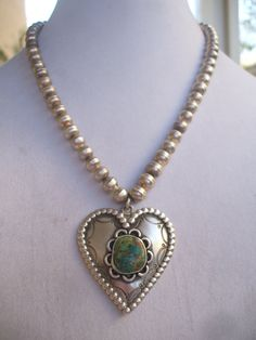 Vintage Signed NAVAJO Sterling Silver Beads & HEART Pendant Stamped NECKLACE Turquoise