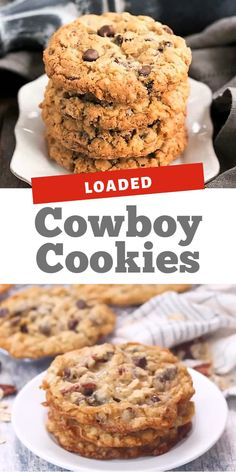 Loaded Cowboy Cookies - Food Meme - Hit the jackpot with this chewy buttery Loaded Cowboy Cookies Recipe! Delicious oats chocolate coconut and pecans in every bite! The post Loaded Cowboy Cookies appeared first on Gag Dad. Chocolate Chip Cookies, Almond Flour Cookies, Brown Sugar Cookies, Best Cookie Recipes, Easy Cake Recipes, Dessert Recipes, Recipes Dinner, Baking Recipes, Dessert Simple