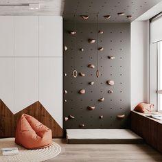 Kids Bedroom Designs, Kids Room Design, Playroom Design, Home Climbing Wall, Creative Kids Rooms, Minimalist Kids, Kid Spaces, Kids Furniture, Room Interior