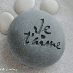 Je Taime I love you engraved beach stone ready to ship
