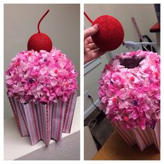 Cupcake Valentine Box. Bottom is a small trash can. The round part is a paper lantern. Painted a styrofoam ball for the cherry and stuck a pipe cleaner for the stem. The icing is tissue paper. : ) Very easy!