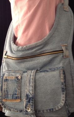 Upcycled RecycleJeans reinvented Contoured Crossbody by GretasGarb, $350.00