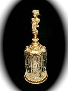 VTG Gold Gilt Glass Perfume Bottle W Victorian Woman Bust Glass Dauber