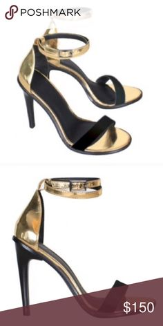 "Tibi Amber Ankle Strap Heels in Gold & Black NWOT Tibi's best-sellling ankle strap heeled sandals ever! They made this model in endless number of colors and this one is a sure winner for summer! 👌🏼 Heel Length:4"" New Without Tags. Only tried at home. Never used. Material:100% Premium Calf Leather Color:Gold & Black 15% off on bundles. I ship same-day from pet/smoke-free home.Buy with confidence.I am a top seller with close to 800 5-star ratings and A LOT of love notes.Check them out!😊😎…"