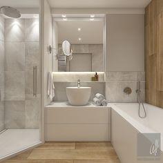 Aranżacje łazienek z wanna i prysznicem - M-Mieszkanie Bathroom Vanity Designs, Best Bathroom Designs, Bathroom Design Small, Bathroom Staging, Bathroom Interior, Bathroom Plans, Wooden Bathroom, Luxurious Bedrooms, Modern House Design