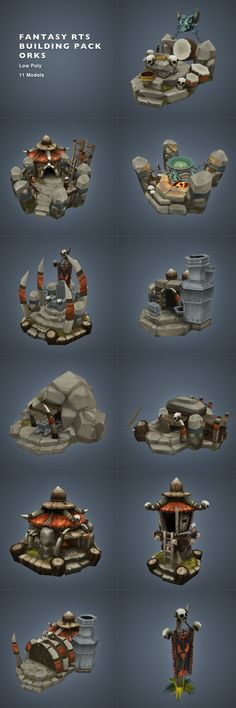 Orc RTS Building Set Low Poly - 3DOcean Item for Sale - $110