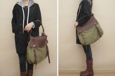 Retro bag Leather Canvas shoulder bag