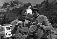 William Shatner and Leonard Nimoy are reading MAD magazine between takes on the original Star Trek series. I loved MAD magazine AND Star Trek! Star Trek 1, Star Trek Series, Star Trek Original, William Shatner, Space Ghost, Leonard Nimoy, Star Trek Enterprise, Star Trek Voyager, Julia Roberts