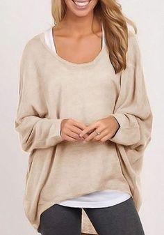 Beige Schlicht Unregelmäßige Scoop Neck Lange Dolmanärmel Mode Lässige Kleidung T-Shirt