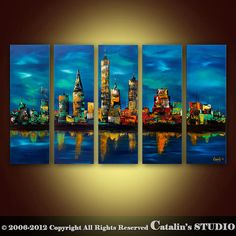 Large Palette Knife Painting Abstract Original Modern Cityscape Art by Catalin…