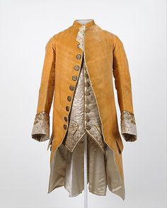 French, Ensemble in yellow. ca. 1765, silk, metal. Costume Institute at @Metropolitan Museum of Art: The Fashionable Male: amazing 18th century Frocks