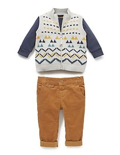 3 Piece Pure Cotton Cardigan, T-Shirt & Trousers Outfit | M&S
