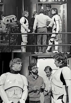 George Lucas, Mark Hamill, Harrison Ford and Peter Mayhew on the set of 'Star Wars: A New Hope' Star Wars Cast, Star Wars Love, Star Trek, Star Wars Brasil, Science Fiction, Princesa Leia, Harrison Ford, Star Wars Pictures, Episode Iv