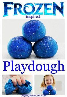 Frozen' Playdough - a beautiful no cook glittery playdough inspired by the movie Frozen! #PBJKids #Frozen #KidsCrafts http://pagingfunmums.com/2014/10/04/frozen-playdough/