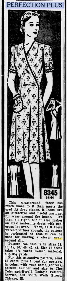 The Telegraph-Herald - Jan 1943 1940s Outfits, 1940s Dresses, Day Dresses, Vintage Dresses, 1930s Fashion, Vintage Fashion, Wrap Clothing, Postwar, Sewing Aprons