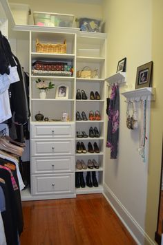 Traditional Closet With ClosetMaid Selectives 25 In D Drawer High Ceiling Elfa Rods Hardwood Floors