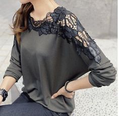 Fashion Ladies Womens Chiffon Lace Tops Long Batwing Sleeve Shirt Casual Blouse on Luulla