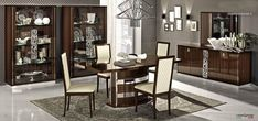 Walnut glossy extendable dining set made and imported from Italy. This rich and luxurious dining set includes dining table with pedestal base and 18 extension, and 4 upholstered chairs. The table and chairs frames are finished in beautiful walnut lacquer. Made with the finest Italian craftsmanship...