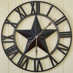 Rustic Iron Texas Star Wall Clock by Park Designs Wall Clock Craft, Wall Clock Design, Clock Decor, Clock Wall, Wall Decor, Diy Wall, Western Decor, Country Decor, Rustic Decor