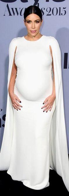 Who made  Kim Kardashian's white cape gown?