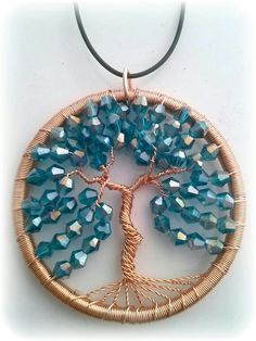 Crystal wire wrap jewelry Tree of life  Crystal wire wrap jewelry Tree of life