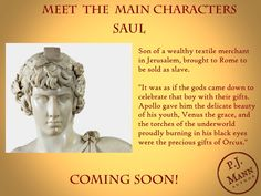 Introducing the main characters of the soon-to-be-released historical fiction novel. Historical Fiction Novels, Ancient Rome, Bookstagram, Book Lovers, Writer, Bring It On, Characters, Statue, History