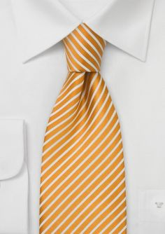 Mens Silk Tie in Golden Yellow and White