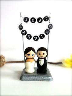 wooden doll cake toppers for wedding cakes | Wedding Cake Topper with Just Married Bunting Logo Stand Custom Bride ...