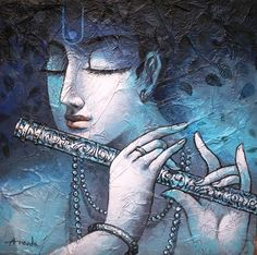 Krishna by Ananda Das Radha Krishna Pictures, Krishna Radha, Krishna Images, Lord Krishna, Durga, Texture Painting, Painting & Drawing, Texture Art, Watercolor Paintings