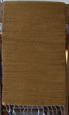 "Hand Woven Yellow Gold Amber Wool Table Runner - 12"" x 24"" by StudioatRedTopRanch on Etsy"