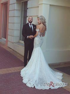 Modern Off-the-Shoulder Sweetheart Lace Mermaid Wedding Dress On Sale_High Quality Wedding Dresses, Prom Dresses, Evening Dresses, Bridesmaid Dresses, Homecoming Dress - 27DRESS.COM