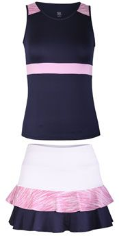 Tail Ladies & Plus Size Tennis Outfits (Top & Skort) - Desert Springs (Pink/White/Navy)