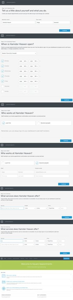 Square Appointments Onboarding UI & Forms